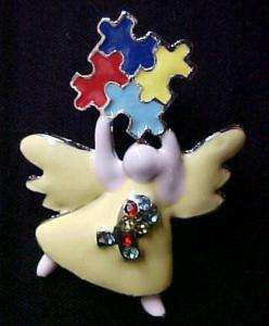New Autism Awareness Angel Pin Puzzle Austrian Crystal