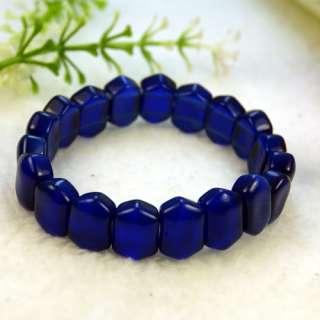 Blue Cats Eye Glass Lampwork Stretch Beads Bracelets