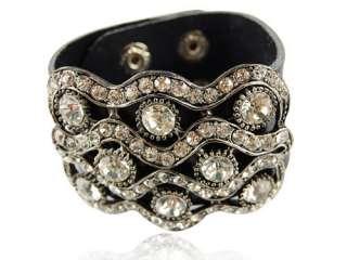 Crystal Rhinestone Stud Design Black Leather Wrist Cuff Band