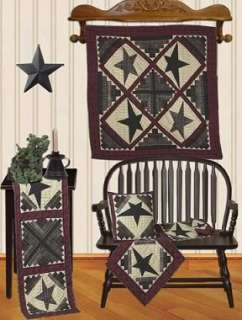 CABIN STAR~LOG CABIN TEA DYED QUILT WALLHANGING OR TABLE TOPPER 43X43