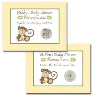 24 Personalized Cocalo Monkey Time Baby Shower Scratch Off Game Cards