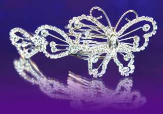 Bridal Wedding Butterfly Crystal Hair Comb T1177