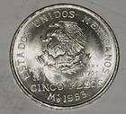 1953 5 PESOS MEXICO SILVER COIN AU