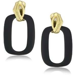T Tahari Bamboo Black and Gold Door Knocker Clip