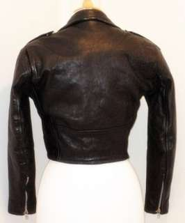 VERY RARE Vintage 70s Motorcycle Biker Cropped Leather Jacket
