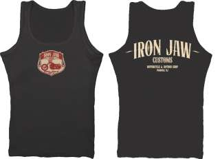 Iron Jaw Shield motorcycle biker Harley vintage custom mens vest top
