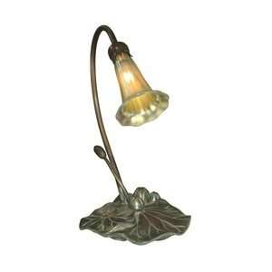 Dale Tiffany 1704/235 Lily Accent Lamp, Antique Bronze/Verde and Glass