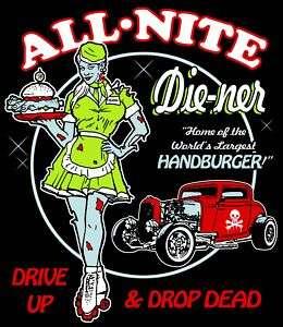 Zombie Diner Rockabilly Psychobilly Hot rod rat rod tee