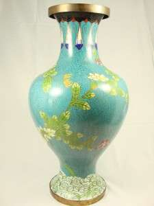 Cloisonne large blue vase yellow red white flowers gold lines 15