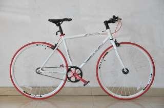 white 53cm fixed fixie gear road micargi single speed bike bicycle