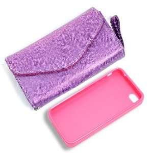 Product] Purple Wallet Card Faux Leather Flip Case+Pink Plastic