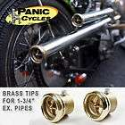 BRASS CROSS EXHAUST TIPS HARLEY TRIUMPH BOBBER 1 3/4