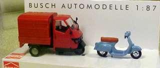 Busch HO 1/87 Piaggio Ape 50 And Vespa Scooter