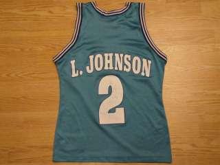VINTAGE 90s LARRY JOHNSON CHARLOTTE HORNETS NBA BASKETBALL JERSEY 36