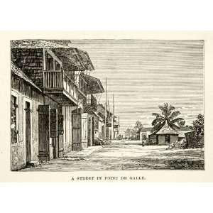 1881 Print Street Scene Cityscape Point de Galle Sri Lanka