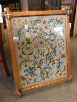 ANTIQUE EUROPEAN FRAMED NEEDLE POINT PICTURE IN OAK FRAME